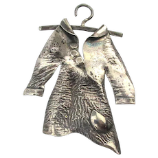 Old Oddball Handmade Sterling Silver Pin - Hanging Coat by MC