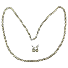 Long Strand of Brushed Sterling Silver Beads Necklace w/ Earrings