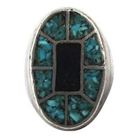Vintage Native American Sterling Silver Chip Inlay Ring - Big Heavy Hulky