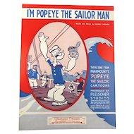 1964 Sheet Music ~ I'm POPEYE The Sailor Man ~ w/ Spinach