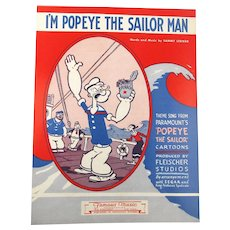 1964 Sheet Music ~ I'm POPEYE The Sailor Man ~ w/ Spinach