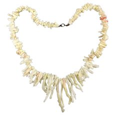 Beachy White Branch Coral Necklace w/ Peachy Tints