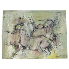 1947 Framed Painting PAUL FEELEY Wild Horses Modernist Artist