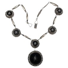 Unusual Old Mexican Sterling Silver Necklace w/ Carved Black Onyx