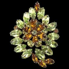 Vintage Lemon Orange Crystal Rhinestone Pin Brooch