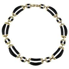 Vintage Nina Ricci PARIS Enamel Gild Collar Necklace
