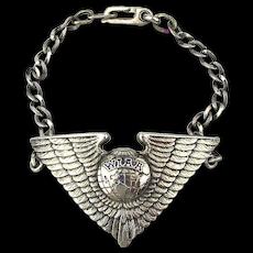 Rare 1930s Sterling Silver WIAA Women's Aeronautics Club Wings Bracelet