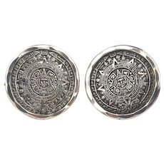Signed Sterling Silver Mexican Cufflinks Aztec Calendar