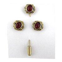 Vintage Ladies Stickpin w/ Matching Earrings - Gilt w/ Carnelian