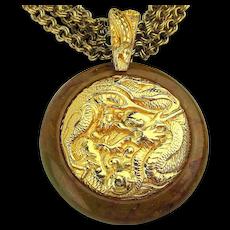 Vintage Bakelite Goldtone Dragon Pendant Necklace Multi Chains