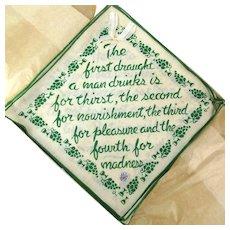 8 Vintage Irish Linen Cocktail Napkins w/ Drinking Wisdom - Boxed Set