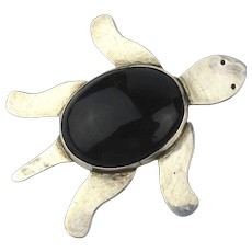 Big Taxco Sterling Silver Black Onyx Turtle Pin Pendant