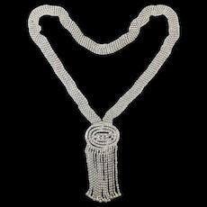 Long Rhinestone Sautoir Necklace - Clear Crystal Glamour