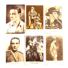 1920s Real Photo French Postcards Rudolph Valentino Film Idol