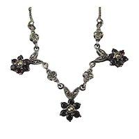 Pretty Sterling Silver Garnet Marcasite Necklace