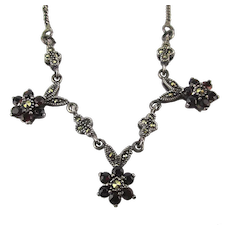 Pretty Sterling Silver Garnet Marcasite Necklace