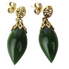 Estate 14K Gold Jade Drop Dangle Earrings