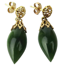 Estate 14K Gold Jade Drop Dangle Earrings