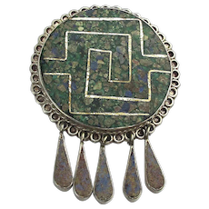 Old Taxco 925 Sterling Chip Inlay Pin Pendant