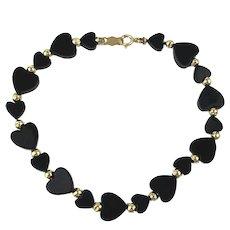Sweetie Bracelet of Black Onyx Hearts w/ 14K Gold Beads