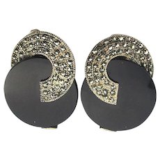 Modernist Art Deco Style Sterling Silver Marcasite Black Onyx Clip Earrings