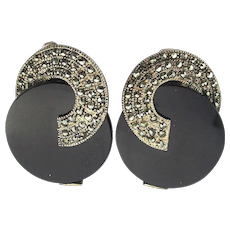 Modernist Art Deco Style Sterling Silver Marcasite Black Onyx Clip Earrings