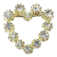 Vintage Open Heart Pin w/ Big Austrian Crystals