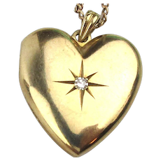 Vintage 10K Gold Heart Photo Locket Pendant Necklace 14K Gold Chain
