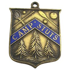 Old Victorian Brass CAMP STUTS Medal Pendant Fob Trees n Sports