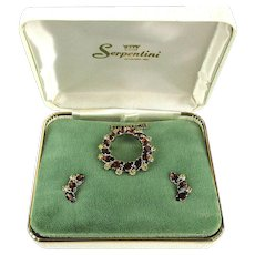 Vintage Boxed Pin Earrings Set Gold-Filled w/ Rhinestones - Signed