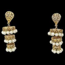 Lively Vintage Faux Pearl in Gilt Chandelier Earrings - Clip
