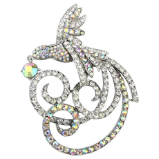 Huge Exotic AB Rhinestone Bird of Paradise Pin Brooch 4 Inches