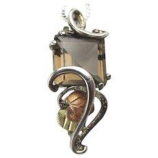 Coleman Sterling Silver 12K Black Hills Gold Smoky Quartz Pendant Necklace
