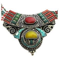 Vintage Tibetan Multi-Stone Silverclad Necklace Turquoise Coral