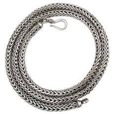 Thick Round 20 Inch Sterling Silver Woven Chain Necklace