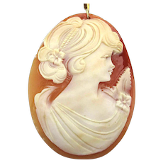 Vintage Hand-Carved Shell CAMEO Lady Pendant Necklace 18K - G.F.