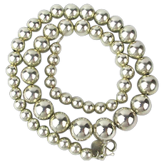 Vintage Tiffany & Co. Sterling Silver Ball Bead Necklace