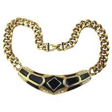 Great Bold Enamel Rhinestone Chunky Link Necklace