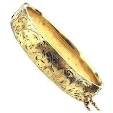 Victorian 9K Gold-Filled Bangle Bracelet Etched Oval