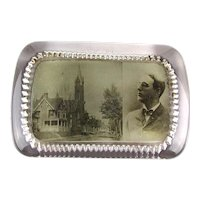 Old c1910 Glass Photo Paperweight - A Man - A House - A Church in New York