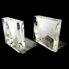 Mid Century Modern Lucite / Aluminum Convex Bookends