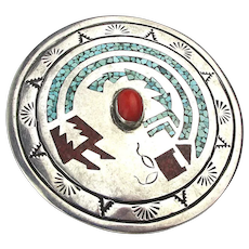 Big Navajo Sterling Silver Coral Turquoise Inlay Pin By Juan T Singer
