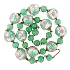 Vintage Italian Art Glass Foil Bead Necklace w/ Pink Roses