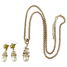 Elegant Necklace Earrings Set - Faux Pearl Drops w/ Crystals Lux Goldtone