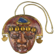 Vintage Peruvian Mixed Metals Lapis Handmade Mask for Wall or Necklace