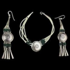 Native American Sterling Silver Bracelet - Earrings Set w/ Malachite Beads