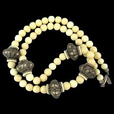 Vintage Pauline Rader Cream Lucite Necklace w/ Tribal Beads