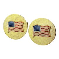 Vintage Goldtone Cufflinks w/ American Flag - Red White n Blue Enamel