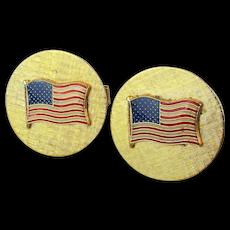 Vintage Goldtone Cufflinks w/ American Flag - Red White n Blue Enamel
