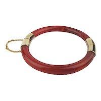 Vintage Chinese Carnelian Goldplated Hinge Bracelet